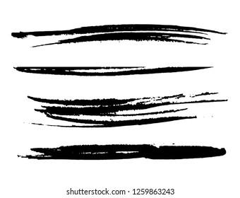 Black Brush Strokes.Grunge Design Elements.