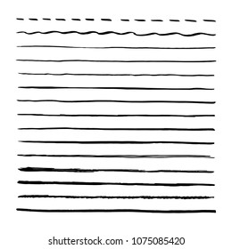 Black brushpen hand drawn vector lines. Set of strokes, brushes. Isolated on white background