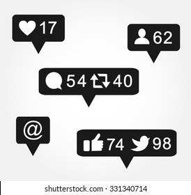 Black bubble notification icon set for following websites,blog, interfaces facebook twitter instagram. Vector illustration social media eps 10