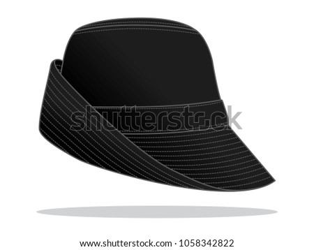 black bucket hat template stock vector royalty free 1058342822