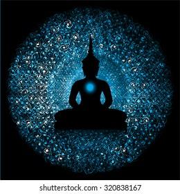 Black Buddha silhouette against Dark blue background
