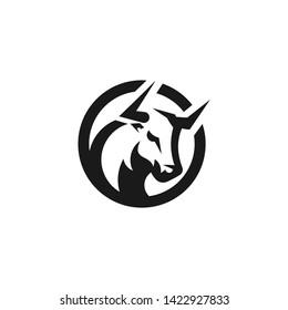 Black Bull in Circle Logo Design Inspiration.