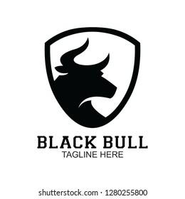 black bull logo, clip art vector