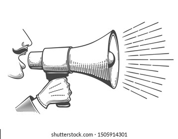 Black bullhorns in man hand. Vintage male speaker shout in loudspeaker engraved vector image, retro advertising illustration concept