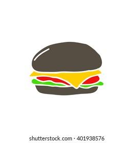 black burger icon. vector illustration