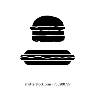 Black Burger and Sandwiches Food Illustration Logo Silhouette