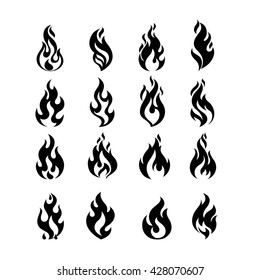Black Burning Fire Flame Logo set design vector template. Burn Fireball concept icon pack. Hot Inferno illustration. Bonfire creative collection.