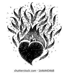 Black burning heart. Sketch for tattoo, poster, print or t-shirt. Vector illustration. Fire hearts. Flame heart.