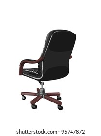 black business chair with brown arms and legs