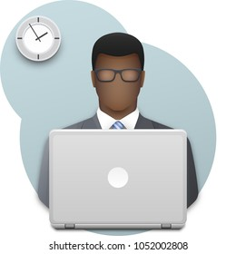 Black business man with glasses working on laptop. Successful young afro businessman dressed in a gray business suit and blue striped tie on wall background with office clock. Vector illustration