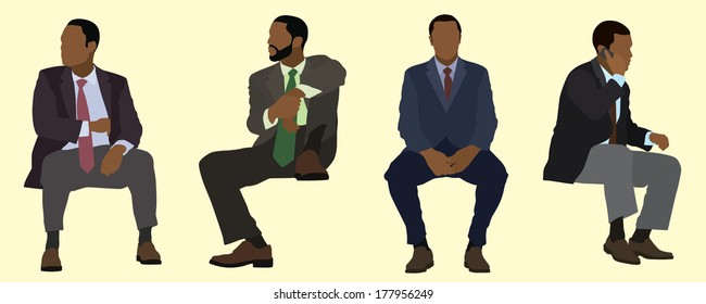 Black Business Men Sitting