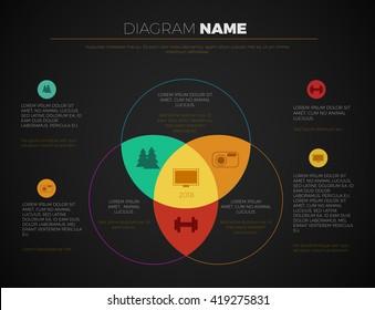 Black business presentation vector slide template with venn diagram. Editable vector slide templates modern dark design