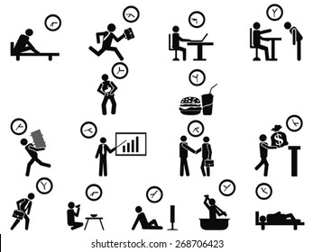 black businessman time management concept icons set