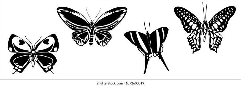 Black butterfly shape set on white background. Hovering flying insect collection creative silhouette. Cute vector butterfly element set for tattoo, engraving, prints, textures, interior and design.