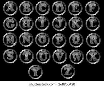 Black Button Alphabet (Hand created) - Black web buttons with fingerprint style letters