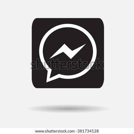 Black Button Facebook Messenger Icon Vector Background JPG JPEGEPS Logo Design Yes Download