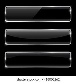 Black buttons with chrome frame. Glossy rectangular buttons. Vector illustration on black background