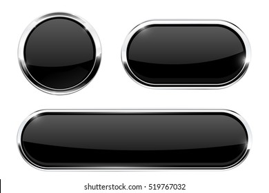 Black buttons with metal frame. Set of icons. Vector illustration isolated on white background