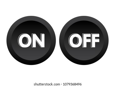 Black buttons ON/OFF. Vector illustration