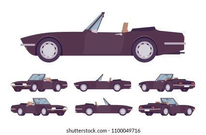 Black cabriolet cat set. Roadsters passenger vehicle with a roof folds down, convertible top, two seats, luxury design city auto to enjoy a travel and journey. Vector flat style cartoon illustration