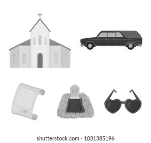 Black cadillac to transport the grave of the deceased, a church for a funeral ceremony, a grave with a tombstone, a death certificate. Funeral ceremony set collection icons in monochrome style vector