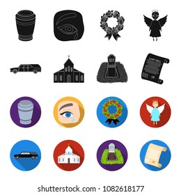 Black cadillac to transport the grave of the deceased, a church for a funeral ceremony, a grave with a tombstone, a death certificate. Funeral ceremony set collection icons in black,flet style vector