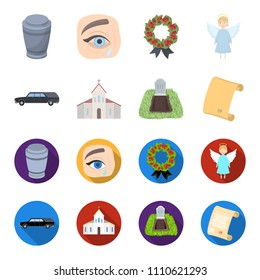Black cadillac to transport the grave of the deceased, a church for a funeral ceremony, a grave with a tombstone, a death certificate. Funeral ceremony set collection icons in cartoon,flat style