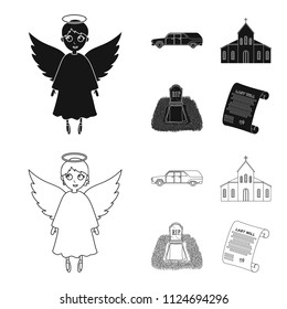 Black cadillac to transport the grave of the deceased, a church for a funeral ceremony, a grave with a tombstone, a death certificate. Funeral ceremony set collection icons in black,outline style