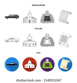 Black cadillac to transport the grave of the deceased, a church for a funeral ceremony, a grave with a tombstone, a death certificate. Funeral ceremony set collection icons in flat,outline,monochrome