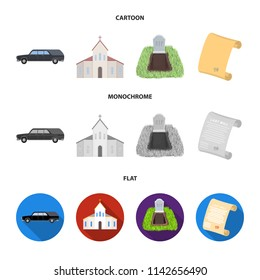 Black cadillac to transport the grave of the deceased, a church for a funeral ceremony, a grave with a tombstone, a death certificate. Funeral ceremony set collection icons in cartoon,flat,monochrome