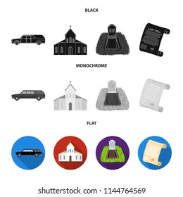 Black cadillac to transport the grave of the deceased, a church for a funeral ceremony, a grave with a tombstone, a death certificate. Funeral ceremony set collection icons in black, flat, monochrome