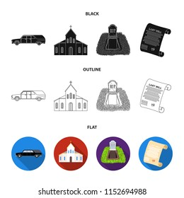 Black cadillac to transport the grave of the deceased, a church for a funeral ceremony, a grave with a tombstone, a death certificate. Funeral ceremony set collection icons in black,flat,outline style