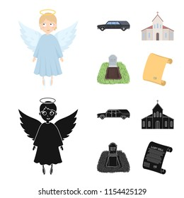 Black cadillac to transport the grave of the deceased, a church for a funeral ceremony, a grave with a tombstone, a death certificate. Funeral ceremony set collection icons in cartoon,black style