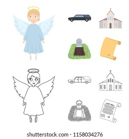Black cadillac to transport the grave of the deceased, a church for a funeral ceremony, a grave with a tombstone, a death certificate. Funeral ceremony set collection icons in cartoon,outline style