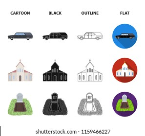 Black cadillac to transport the grave of the deceased, a church for a funeral ceremony, a grave with a tombstone, a death certificate. Funeral ceremony set collection icons in cartoon,black,outline