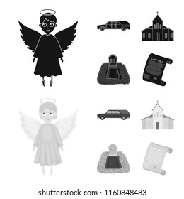 Black cadillac to transport the grave of the deceased, a church for a funeral ceremony, a grave with a tombstone, a death certificate. Funeral ceremony set collection icons in black,monochrome style