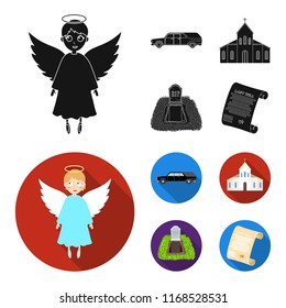 Black cadillac to transport the grave of the deceased, a church for a funeral ceremony, a grave with a tombstone, a death certificate. Funeral ceremony set collection icons in black,flat style vector