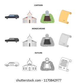 Black cadillac to transport the grave of the deceased, a church for a funeral ceremony, a grave with a tombstone, a death certificate. Funeral ceremony set collection icons in cartoon,outline