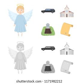 Black cadillac to transport the grave of the deceased, a church for a funeral ceremony, a grave with a tombstone, a death certificate. Funeral ceremony set collection icons in cartoon,monochrome style