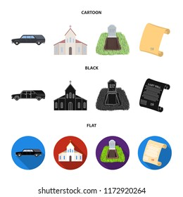 Black cadillac to transport the grave of the deceased, a church for a funeral ceremony, a grave with a tombstone, a death certificate. Funeral ceremony set collection icons in cartoon,black,flat style