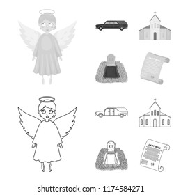 Black cadillac to transport the grave of the deceased, a church for a funeral ceremony, a grave with a tombstone, a death certificate. Funeral ceremony set collection icons in outline,monochrome style