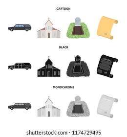 Black cadillac to transport the grave of the deceased, a church for a funeral ceremony, a grave with a tombstone, a death certificate. Funeral ceremony set collection icons in cartoon,black,monochrome