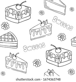 black cakes pattern. on a white background, doodle drawing. sweets