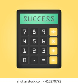 Black calculator with word Succes on display. Vector icon. Flat design.