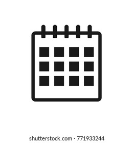 Black calendar flat icon on the white background. Vector.