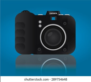 Black Camera On Blue Background