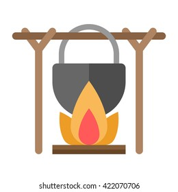 Black camping pot over a bonfire. Flat vector illustration isolated on white background