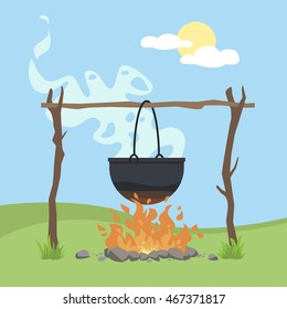 Black camping pot over a bonfire vector flat illustration isolated on a background with Green grass and Blue sky