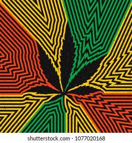 Black cannabis leaf on grunge strip rastafarian background.