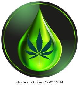 Black cannabis (marijuana leaf) and green oil drop on dark green circle background vector illustration. EPS10/ILLUSTRATION